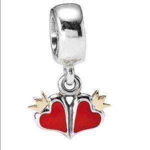 Retired red enamel heart dangle